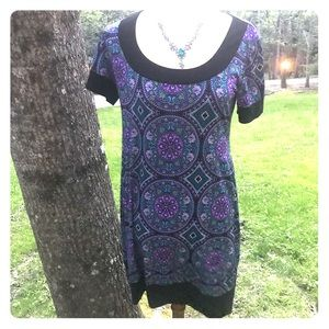 Cato size small purple & turquoise patterned dress